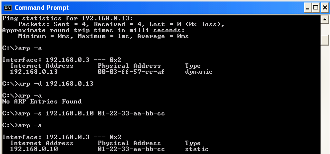how to use arp command in windows